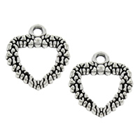Zinc Alloy Heart Pendants, antique silver color plated, lead & cadmium free, 17x19x1.5mm, Hole:Approx 1mm, Sold By PC