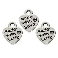 Zinc Alloy Heart Pendants, antique silver color plated, with letter pattern, lead & cadmium free, 9x12x1.5mm, Hole:Approx 1mm, 2000PCs/Bag, Sold By Bag