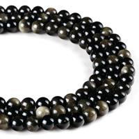 Gold Obsidian Beads, Round, natural, different size for choice, Hole:Approx 1mm, Length:Approx 15 Inch, Sold By Strand