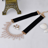 Rhinestone Zinc Alloy Jewelry Set, earring & necklace, with Velveteen, stainless steel post pin, with 7cm extender chain, gold color plated, for woman & with rhinestone, lead & cadmium free, 100mm, Length:Approx 13.5 Inch, Sold By Set