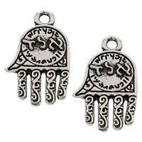 Zinc Alloy Hamsa Pendants, antique silver color plated, with letter pattern, lead & cadmium free, 12x19x2mm, Hole:Approx 1.5mm, 2000PCs/Bag, Sold By Bag