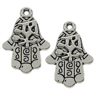 Zinc Alloy Hamsa Pendants, antique silver color plated, lead & cadmium free, 18x27x3mm, Hole:Approx 1.5mm, Sold By PC