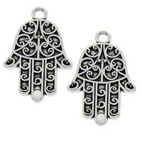 Zinc Alloy Charm Connector, Hamsa, antique silver color plated, 1/1 loop, lead & cadmium free, 24x37x3mm, Hole:Approx 2mm, Sold By PC