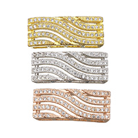 Cubic Zirconia Micro Pave Brass Beads, Rectangle, plated, micro pave cubic zirconia, more colors for choice, 20.5x8x4mm, Hole:Approx 1.5x6mm, Sold By PC