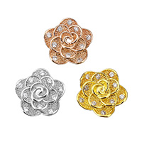 Cubic Zirconia Micro Pave Brass Beads, Flower, plated, micro pave cubic zirconia, more colors for choice, 11x10.5x5.5mm, Hole:Approx 1mm, Sold By PC