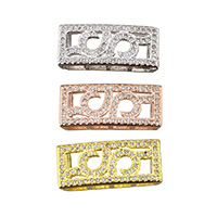 Cubic Zirconia Micro Pave Brass Beads, Rectangle, plated, micro pave cubic zirconia, more colors for choice, 20.5x9x4mm, Hole:Approx 2x6mm, Sold By PC