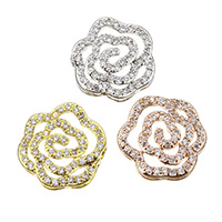 Cubic Zirconia Micro Pave Brass Beads, Flower, plated, multihole & micro pave cubic zirconia, more colors for choice, 12.5x13.5x5mm, Hole:Approx 1x5mm, Sold By PC