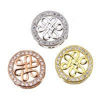 Cubic Zirconia Micro Pave Brass Beads, Flat Round, plated, multihole & micro pave cubic zirconia, more colors for choice, 11.5x11.5x4.5mm, Hole:Approx 2mm, Sold By PC