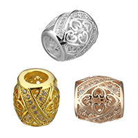Cubic Zirconia Micro Pave Brass European Bead, Oval, plated, micro pave cubic zirconia & without troll & hollow, more colors for choice, 10x9.5x9.5mm, Hole:Approx 5mm, Sold By PC