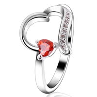 Cubic Zircon Brass Finger Ring, Heart, platinum color plated, with cubic zirconia, lead & cadmium free, 10x16mm, US Ring Size:6-9, Sold By PC
