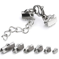Stainless Steel Lobster Claw Cord Clasp, with ribbon crimp end & different size for choice, original color, Sold By PC