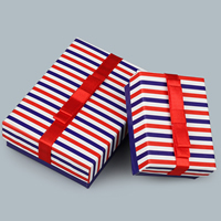 Cardboard Jewelry Set Box, with Satin Ribbon, Rectangle, different styles for choice & stripe, Sold By PC