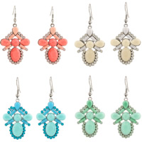 Resin Zinc Alloy Earring, with Resin, iron earring hook, plated, faceted, more colors for choice, lead & cadmium free, 54x28mm, Sold By Pair