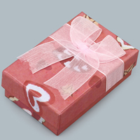 Cardboard Jewelry Set Box, pendant & finger ring, with Gauze, Rectangle, with heart pattern, 50x80x25mm, Sold By PC