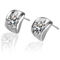 Cubic Zircon Brass Earring, platinum color plated, with cubic zirconia, nickel, lead & cadmium free, 9mm, Sold By Pair