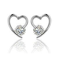 Cubic Zircon Brass Earring, Heart, platinum color plated, with cubic zirconia, nickel, lead & cadmium free, 10x14mm, Sold By Pair