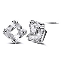 Cubic Zircon Brass Earring, platinum color plated, with cubic zirconia, nickel, lead & cadmium free, 7mm, Sold By Pair
