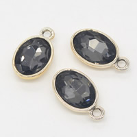 Crystal Zinc Alloy Pendants, with Crystal, Flat Oval, gold color plated, faceted, 12x21x6mm, Hole:Approx 1mm, Sold By PC