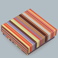 Cardboard Jewelry Set Box, finger ring & necklace, Square, stripe, 95x95x30mm, Sold By PC
