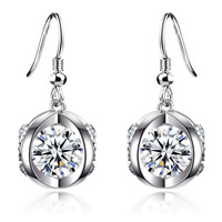 Cubic Zircon Brass Earring, platinum color plated, with cubic zirconia, nickel, lead & cadmium free, 6mm, Sold By Pair