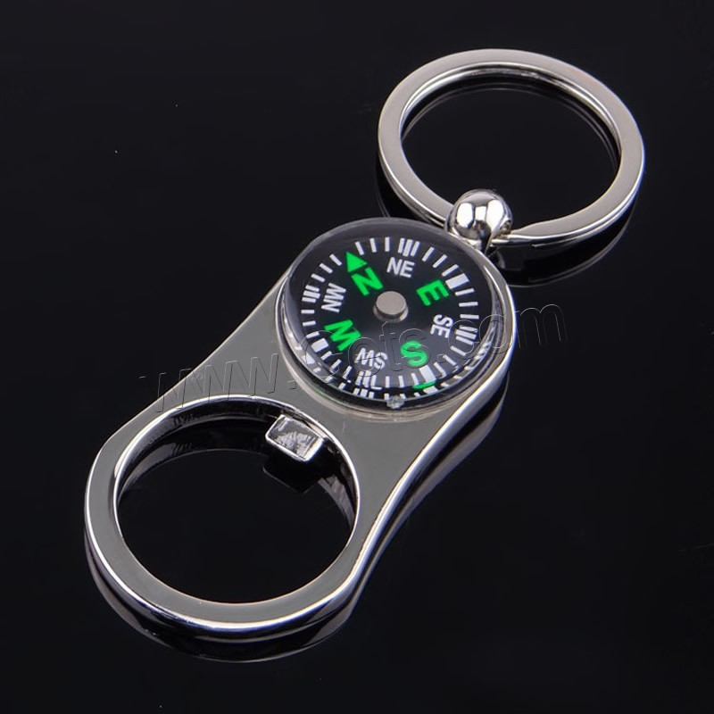 zinc alloy key chain jewelry with iron ring compass platinum color plated with bottle opener. Black Bedroom Furniture Sets. Home Design Ideas