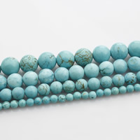 Natural Turquoise Beads, Round, different size for choice, green, Length:Approx 15 Inch, Sold By Strand