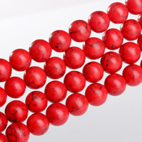 Natural Turquoise Beads, Round, different size for choice, red, Length:Approx 15.5 Inch, Sold By Strand