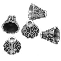 Zinc Alloy Bead Caps, Flower, antique silver color plated, lead & cadmium free, 9x9mm, Hole:Approx 2.2mm, 500PCs/Bag, Sold By Bag