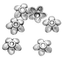 Zinc Alloy Bead Caps, Flower, antique silver color plated, lead & cadmium free, 6mm, Hole:Approx 0.8mm, 1000PCs/Bag, Sold By Bag