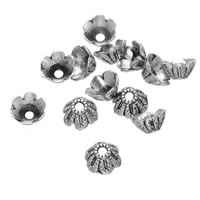 Zinc Alloy Bead Caps, Flower, antique silver color plated, lead & cadmium free, 6mm, Hole:Approx 1.5mm, 1000PCs/Bag, Sold By Bag