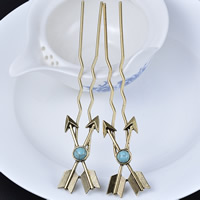 Hair Pins, Zinc Alloy, with Synthetic Turquoise, arrowhead, gold color plated, lead & cadmium free, 28x135mm, Sold By PC