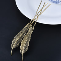Hair Pins, Zinc Alloy, Leaf, antique gold color plated, lead & cadmium free, 20x174mm, Sold By PC
