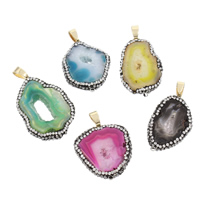 Natural Agate Druzy Pendant, Ice Quartz Agate, with zinc alloy bail & Rhinestone Clay Pave, gold color plated, druzy style, more colors for choice, 20x34x4-22x36x5mm, Hole:Approx 4x7mm, Sold By PC