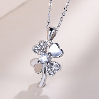 Cubic Zirconia Sterling Silver Pendants, 925 Sterling Silver, Four Leaf Clover, with cubic zirconia, 13x23mm, Hole:Approx 4x7mm, Sold By PC
