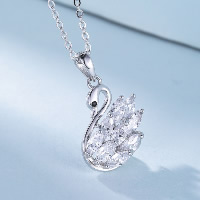 Cubic Zirconia Sterling Silver Pendants, 925 Sterling Silver, Swan, with cubic zirconia, 16x20mm, Hole:Approx 4x7mm, Sold By PC