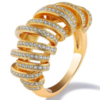 Cubic Zirconia Micro Pave Brass Finger Ring, 18K gold plated, different size for choice & micro pave cubic zirconia & for woman, 26mm, Sold By PC