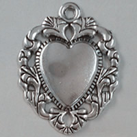 Zinc Alloy Heart Pendants, antique silver color plated, lead & cadmium free, 27x34mm, Hole:Approx 1.5mm, 50PCs/Bag, Sold By Bag