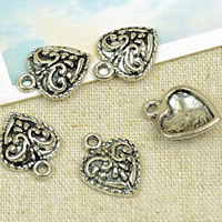 Zinc Alloy Heart Pendants, antique silver color plated, lead & cadmium free, 12x15mm, Hole:Approx 1.5mm, 50PCs/Bag, Sold By Bag