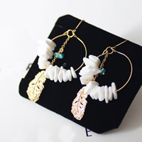 White Shell Earrings, Zinc Alloy, with White Shell & Resin, iron earring hook, gold color plated, lead & cadmium free, 60x40mm, Sold By Pair