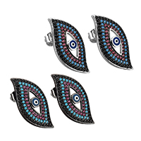 Evil Eye Earrings, Brass, with Resin, plated, micro pave cubic zirconia & for woman, more colors for choice, 12.5x25mm, Sold By Pair