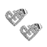 Cubic Zirconia Micro Pave Brass Earring, Heart, platinum plated, micro pave cubic zirconia & for woman, 10x8mm, Sold By Pair