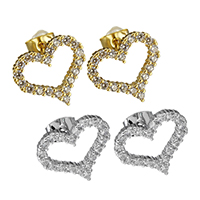 Cubic Zirconia Micro Pave Brass Earring, Heart, plated, micro pave cubic zirconia & for woman, more colors for choice, 15x13mm, Sold By Pair
