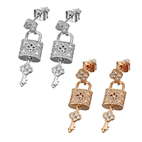 Cubic Zirconia Micro Pave Brass Earring, Lock and Key, plated, micro pave cubic zirconia & for woman & hollow, more colors for choice, 9x15.5mm, 32mm, Sold By Pair