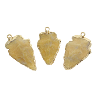 Ice Quartz Agate Pendant, with Zinc Alloy, gold color plated, druzy style, 23x41x9mm-26x46x9mm, Hole:Approx 2.5mm, Sold By PC
