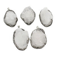 Natural Quartz Druzy Pendants, Ice Quartz Agate, with zinc alloy bail & Rhinestone Clay Pave, platinum color plated, druzy style, white, 30x39x20mm-35x53x27mm, Hole:Approx 4x7mm, Sold By PC