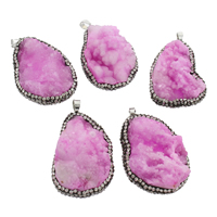 Ice Quartz Agate Pendant, with zinc alloy bail & Rhinestone Clay Pave, platinum color plated, druzy style, purple, 33x45x16mm-36x50x22mm, Hole:Approx 4x7mm, Sold By PC