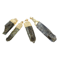 Quartz Pendant, with Zinc Alloy, gold color plated, druzy style, 16x47x9mm-16x78x10mm, Hole:Approx 4x7mm, Sold By PC