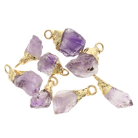 Crystal Zinc Alloy Pendants, Amethyst, with Zinc Alloy, gold color plated, 11x17x7mm-14x25x13mm, Hole:Approx 2.5mm, Sold By PC