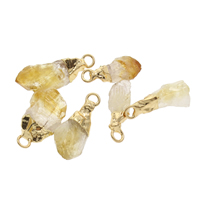 Citrine Pendant, with Zinc Alloy, gold color plated, 8x25x5mm-12x30x7mm, Hole:Approx 2.5mm, Sold By PC