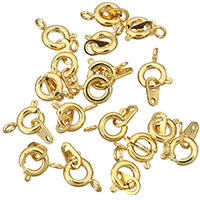 Brass Spring Ring Clasp, 24K gold plated, 6.5x9x3mm, 3.5x6.5x0.5mm, Hole:Approx 1.5mm, 1mm, Sold By PC